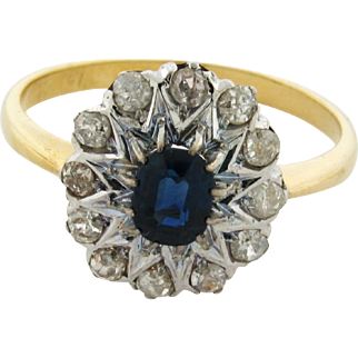 Original Art Deco Sapphire Diamond Platinum 18k Yellow Gold Ring