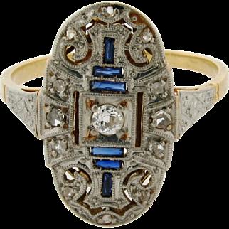 Original Art Deco Sapphire Diamond Platinum 18k Yellow Gold Filigree Ring