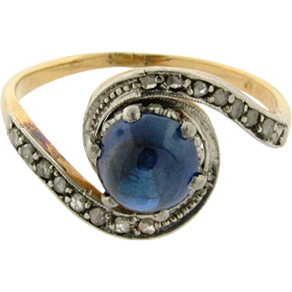 Original Art Deco Cabochon Sapphire Diamond Platinum 18k yellow Gold Ring