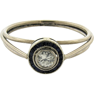 Original Art Deco Diamond Platinum Circle Sapphire Ring