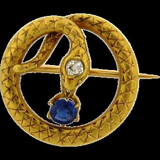 Art Nouveau Snake Sapphire Diamond 18k Yellow Gold Brooch