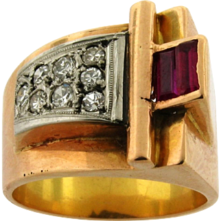 Retro Vintage Ruby Diamond 18k Rose Gold Buckle Design Ring