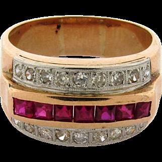 Original Art Deco Diamond Ruby 18k Yellow Gold Ring