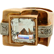 Retro Vintage Aqua Marine Diamonds 18k Yellow Gold Ring