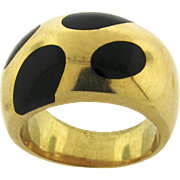 Retro Vintage 14k Yellow Gold Black Enamel Dots Ring