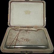 Antique Japanese Sterling Silver Enamel Bamboo Cigarette/Card Case K. Uyeda