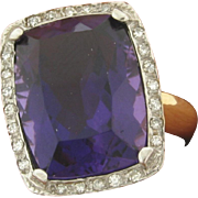 Stunning Vintage 22 Carat Amethyst Diamond 18k Yellow Gold Ring