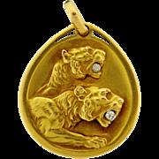 Antique Art Nouveau 18k Yellow Gold Diamond Double Lion Pendant