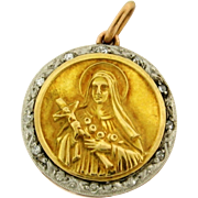 Antique Religious Rose Cut Diamond Platinum 18k Yellow Gold Pendant