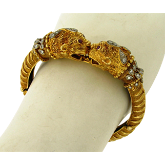 Vintage Zolotas Ruby Diamond Double Chimera 18k Yellow Gold Bangle Bracelet