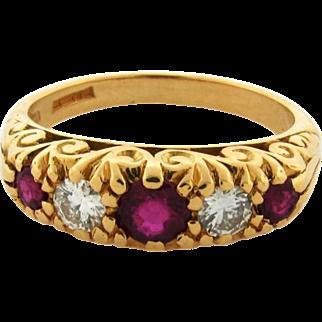 Vintage Ruby Diamond English 18k Yellow Gold 5 Stone Ring