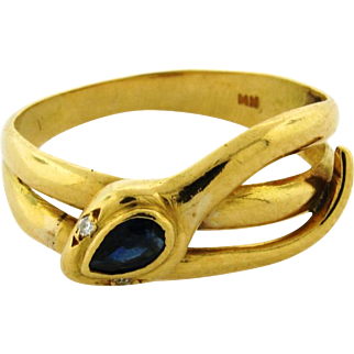 Vintage Sapphire Diamond 18k Yellow Gold Snake Wrap Around Ring