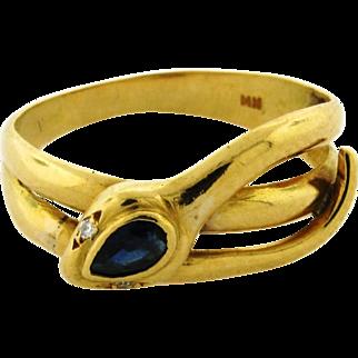 Vintage Sapphire Diamond 18k Yellow Gold Snake Wrap Around Ring