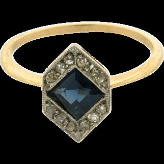Original Art Deco Sapphire Rose Cut Diamond 18k Yellow Gold Ring