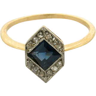 Original Art Deco Sapphire Rose Cut Diamond 18k Yellow Gold Ring