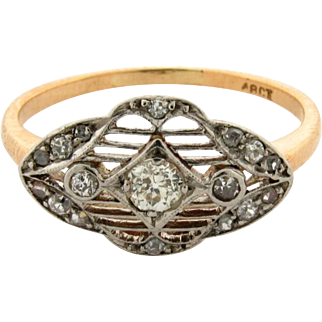Original Art Deco Filigree Diamonds Platinum 18k Yellow Gold Ring