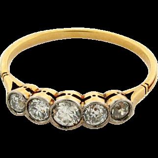 Original Art Deco Five Euro Cut Diamond 18k Yellow Gold Ring