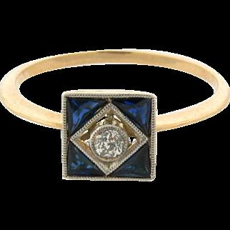 Original Art Deco Diamond Sapphire 18k Yellow Gold Ring