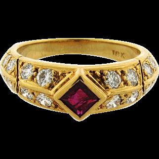 Retro Vintage Ruby Diamond 18k Yellow Gold Ring