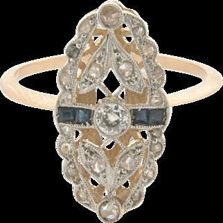 Original Art Deco Filigree Diamonds Sapphires Platinum 18k yellow Gold Ring
