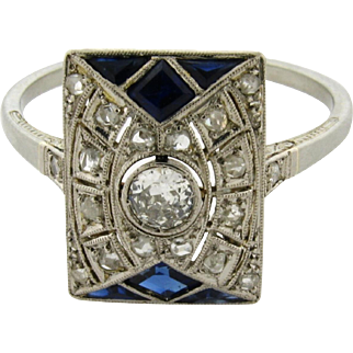 Original Art Deco Diamond Sapphire 18k White Gold Ring