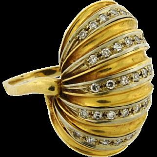 Retro Vintage Diamond 18k Two Tone Yellow Shell Design Gold Ring