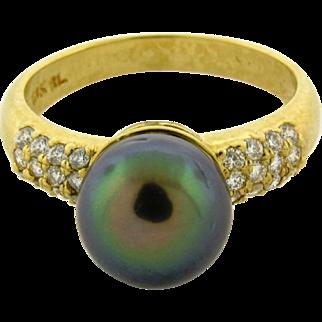 Vintage Designer Tahitian Pearl Diamond 18k Yellow Gold Ring