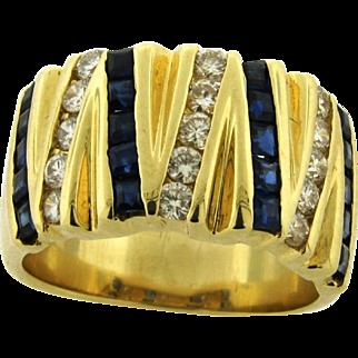 Vintage Cigar Band Diamonds Sapphires 14k Yellow Gold Designer Ring