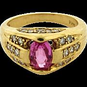 Vintage Pink Tourmaline Diamond 14k Yellow Gold Ring