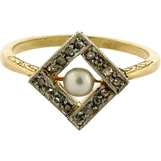 Original Art Deco Diamonds Pearl Platinum 18k Yellow Gold Ring