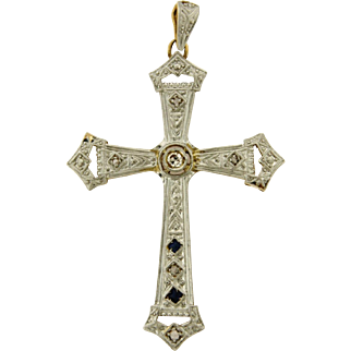 Original Art Deco Filigree Diamond Sapphires Plat 18k Yellow Gold Cross Pendant
