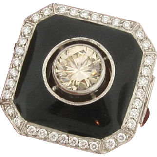 Original Art Deco Black Enamel .92 Carat Center Diamond Platinum Ring