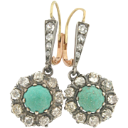 Pair of Edwardian Turquoise Diamonds Platinum18K Yellow Gold Earrings