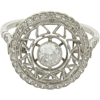 Original Art Deco Filigree .44 C Center Diamonds Platinum Ring