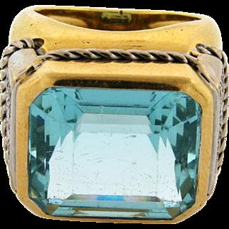 Stunning 20 Carat Aqua Marine Diamond 18k Yellow Gold Cigar Band Ring