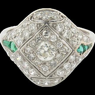 Stunning Original Art Deco Diamonds Emeralds Platinum Ring