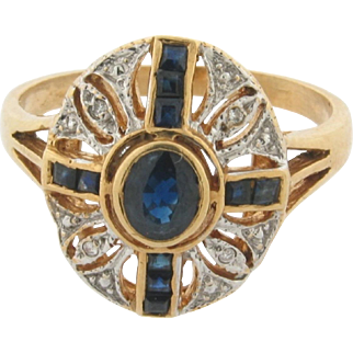 Vintage French Sapphire Diamonds Filigree 18k Yellow And White Gold Ring