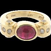 Vintage Designer Cabochon Ruby Diamond 14k Yellow Gold Ring