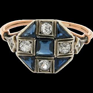 Original Art Deco Diamonds Sapphires Plat 18k Yellow Gold Checkerboard Ring