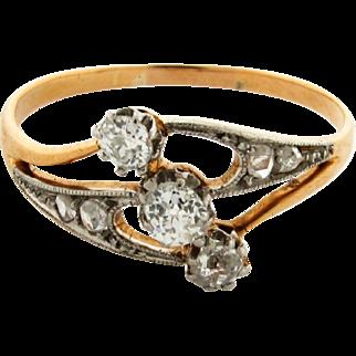 Original Art Deco Old Cushion Cut Diamonds Platinum 18k Yellow Gold Ring