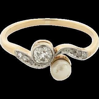 Original Art Deco Diamond Pearl Bypass 18k Yellow Gold Ring