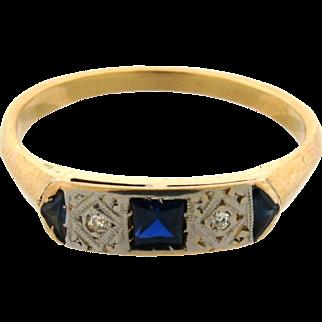 Original Art Deco Diamonds Sapphires Platinum 18k Yellow Gold Ring