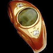 Vintage Cat's Eye Chrysoberyl Diamond 14k Yellow Gold Ring
