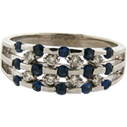 Vintage Designer Channel Set Diamonds Sapphires 14k White Gold Ring