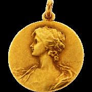 Antique Art Nouveau Lady Floral French Artist Signed 18k Yellow Gold Pendant