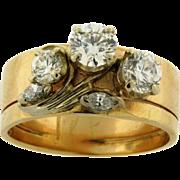 Vintage Flower Designer Diamonds 14K Yellow Gold Ring