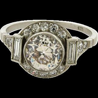 Vintage 1.71 Center Old Mine Cut Baguette Diamond Platinum Engagement Ring