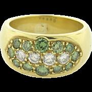 Retro Vintage White and Green Diamonds 18k Yellow Gold Ring