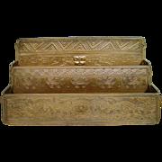 Antique Tiffany Studios Bronze American Indian Frog Letter Rack Desk Set