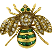 Vintage Diamonds Emeralds 18k Yellow Gold Signed Insect Bee Brooch